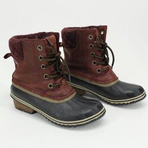 Sorel Maroon Suede Slimpack Ii Lace Boots